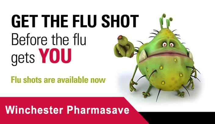 Get you free flu shot s at Winchester Pharmasave